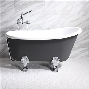 "'COSIMO62' 62"" WHITE CoreAcryl Acrylic Swedish Slipper Clawfoot Tub Package with Iron Effect Exterior"