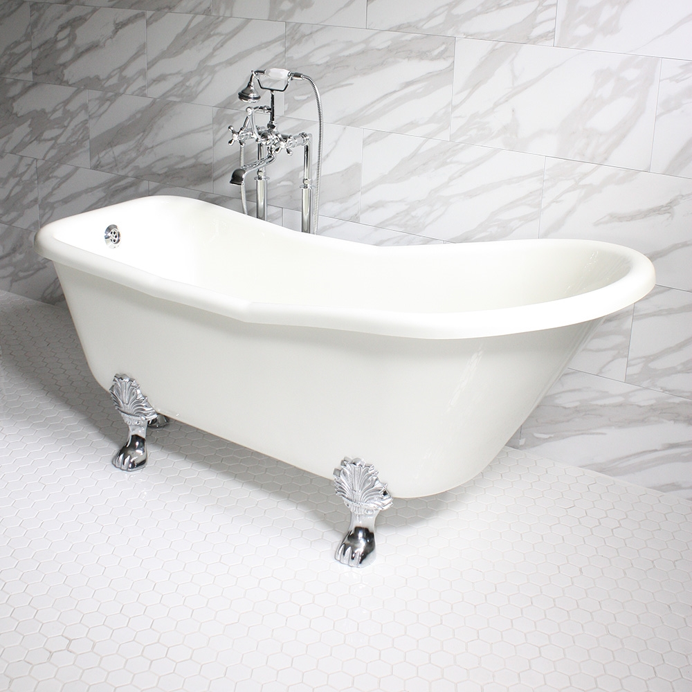 acrylic clawfoot tub package.  DANIELE67 67 CoreAcryl BISCUIT Acrylic Single Slipper Clawfoot Tub Package