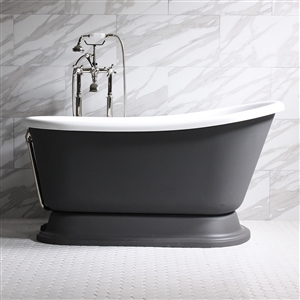 "'DONATO62' 62"" CoreAcryl Acrylic Swedish Slipper Pedestal Tub Package"