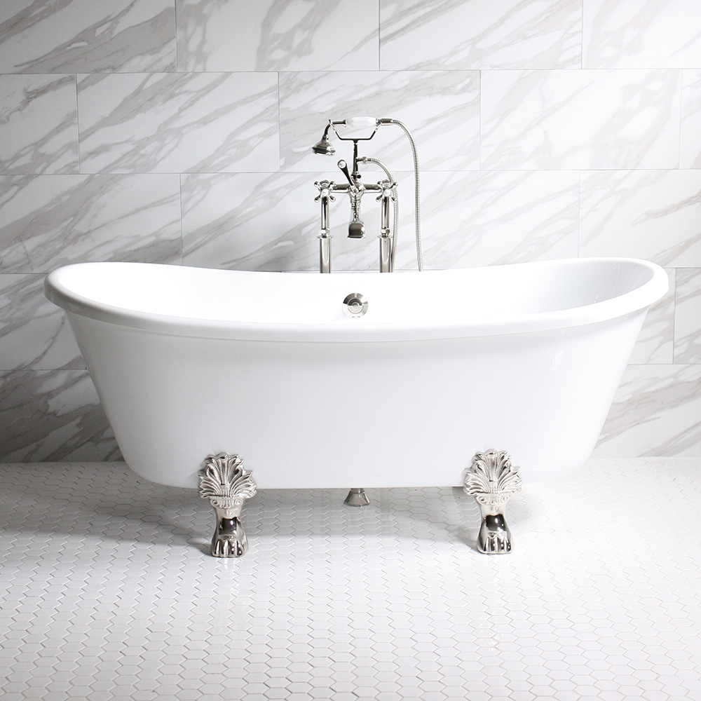 acrylic clawfoot tub package.  FEDERIGO59 59 WHITE CoreAcryl Acrylic French Bateau Clawfoot Tub Package