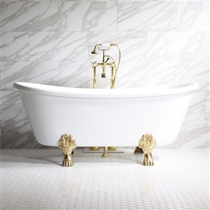 "'FEDERIGO67' 67"" WHITE CoreAcryl Acrylic French Bateau Clawfoot Tub Package"