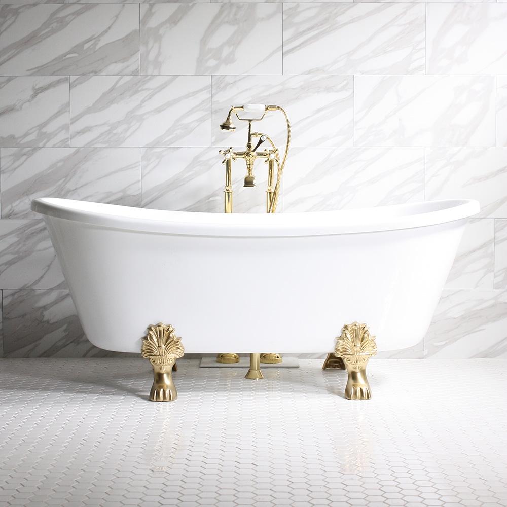 Federigo67 67 White Coreacryl Acrylic French Bateau Clawfoot Tub Package