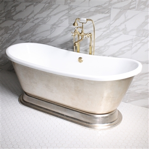"'GIANETTA73' 73"" CoreAcryl WHITE Acrylic French Bateau Pedestal Tub Package with Aged Silver Leaf Exterior"