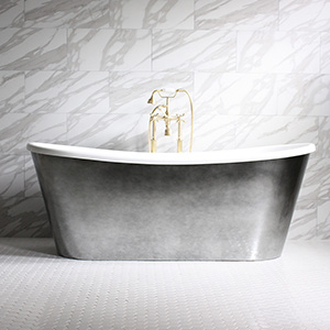 "'GINEVRA59' 59"" CoreAcryl WHITE French Bateau acrylic skirted tub and faucet package with Aged Chrome exterior"
