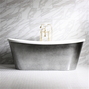 "'GINEVRA73' 73"" CoreAcryl WHITE French Bateau acrylic skirted tub and faucet package with Aged Chrome exterior"