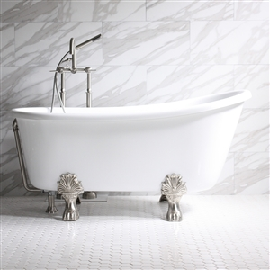 "'GRITTI58' 58"" WHITE CoreAcryl Acrylic Swedish Slipper Clawfoot Tub Package"