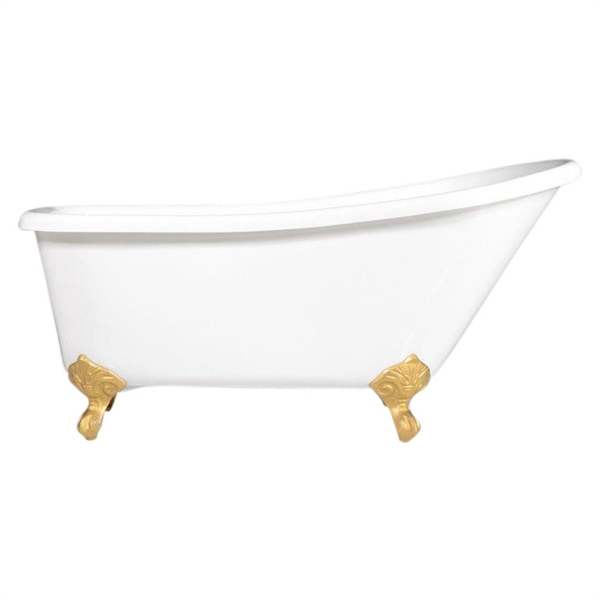 "LUXWIDE 'Luchino59' 59"" WHITE CoreAcryl Acrylic Single Slipper Clawfoot Tub with Drain"