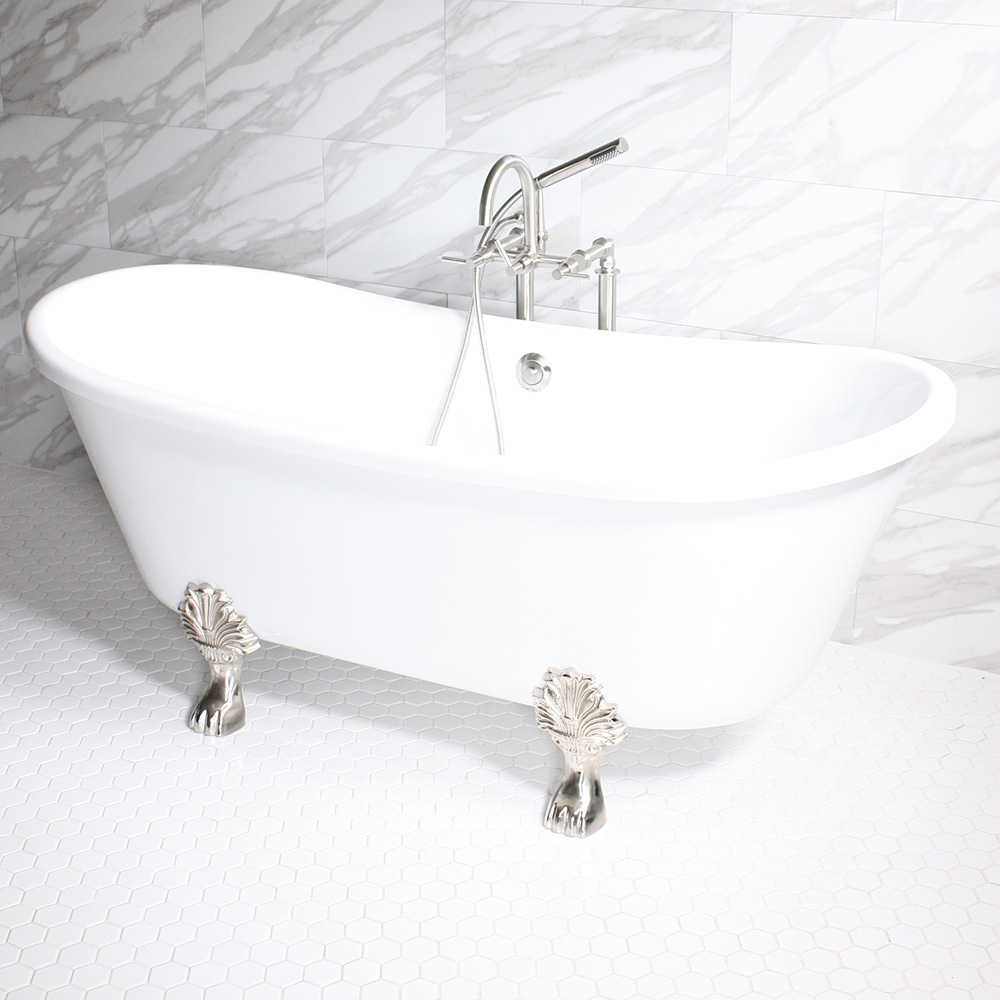 acrylic clawfoot tub package.  Properzia59 59 Biscuit CoreAcryl Acrylic French Bateau Clawfoot Tub Package