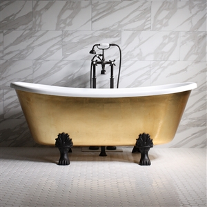 "'RAMESSES67' 67"" CoreAcryl WHITE Acrylic French Bateau Clawfoot Tub with Umber Wash Egyptian Gold Leaf Exterior plus Faucet Package"