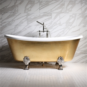 "'RAMESSES73' 73"" CoreAcryl WHITE Acrylic French Bateau Clawfoot Tub with Umber Wash Egyptian Gold Leaf Exterior plus Faucet Package"