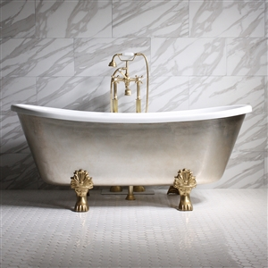 "'SIMONA73' 73"" CoreAcryl WHITE Acrylic French Bateau Clawfoot Tub with Umber Wash Aged Silver Leaf Exterior plus Faucet Package"