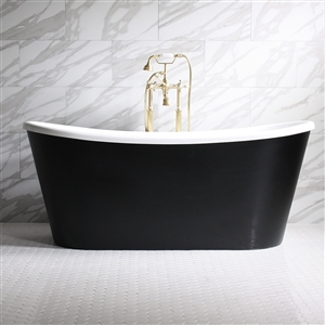 "'SORRENTINO59'  59"" WHITE CoreAcryl Acrylic French Bateau Tub with Eggshell Black Exterior and Faucet Package"