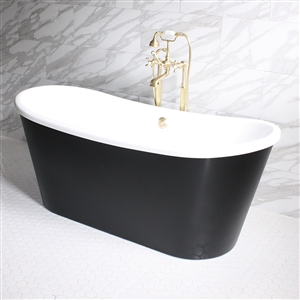 "'SORRENTINO73'  73"" WHITE CoreAcryl Acrylic French Bateau Tub with Eggshell Black Exterior and Faucet Package"