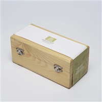 Hand-crafted empty wooden chest for 10 essential oils