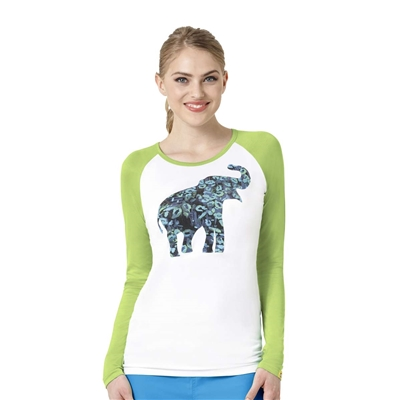 Long Sleeve Silky Baseball Tee in Wild Paws Tee by WonderWink