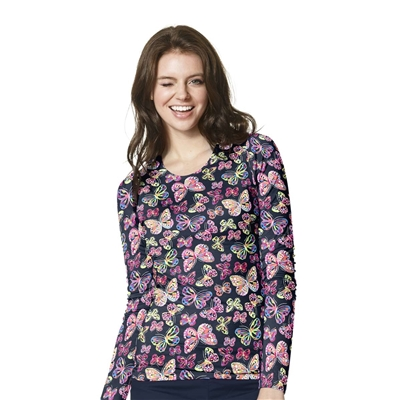 Long Sleeve Silky All-Over Print Tee in Flutter Bunch Tee