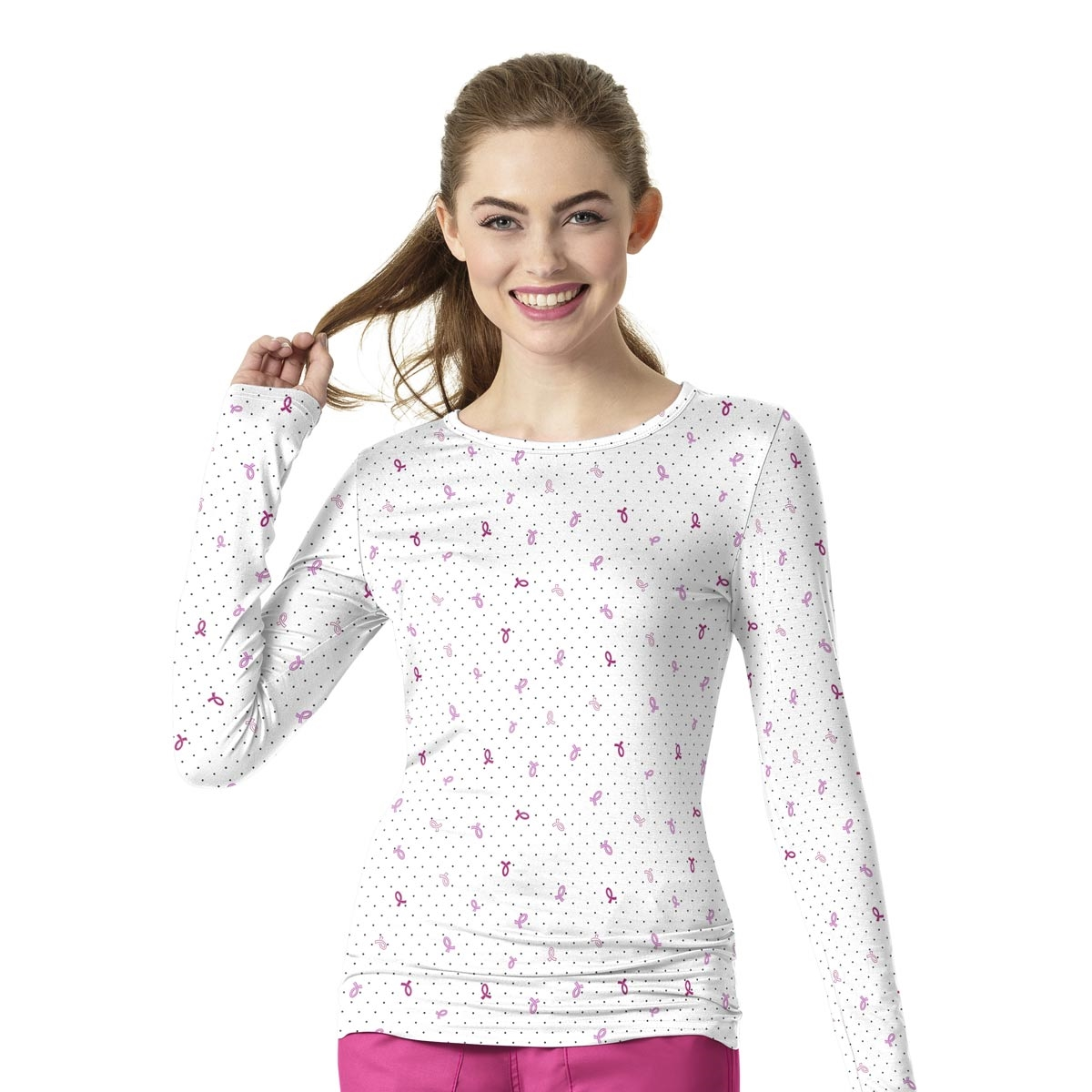 13bee7227bd WonderWink Long Sleeve Silky All-Over Print Tee in Fight Like a Girl View  Larger Photo