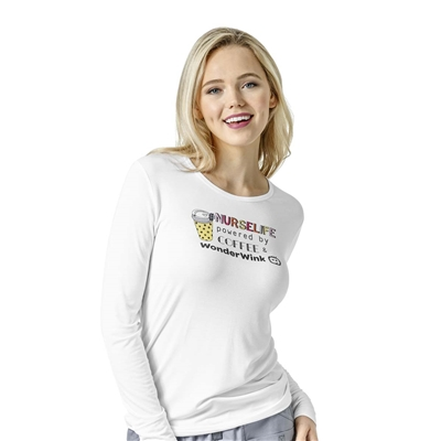 WonderWink Long Sleeve Silky Print Tee in Nurse Life
