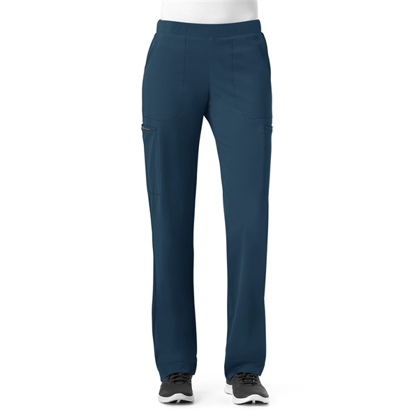 WonderWink High Performance Hybrid Modern Straight Leg Pull On Pant in Caribbean