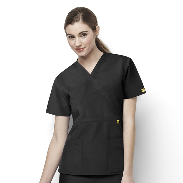 9066b819c63 Origins Golf Lady Fit Mock Wrap Scrub Top - WonderWink Scrubs