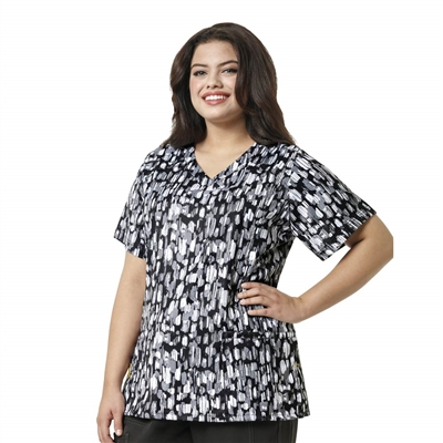 WonderWink PLUS Printed Curved V-Neck Top in Abstract Ink