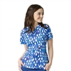 WonderWink WonderFLEX Verity Print Top in Blue Rush