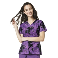 WonderWink WonderFLEX Verity Print Top in Violet Resist