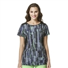 WonderWink High Performance Neo Boat Neck Print Top in Digital Flight Black