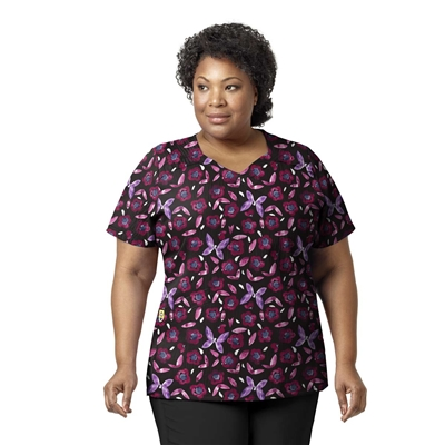 WonderWink PLUS Printed Mock Wrap Top in Mariposa
