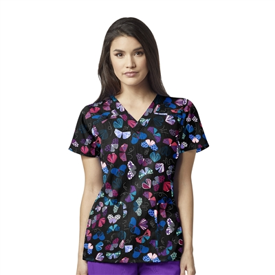 WonderWink Printed Sporty V-Neck Top in Give Me Butterflies