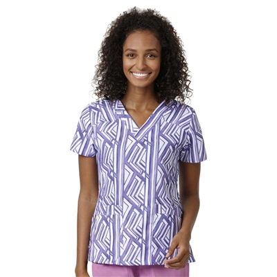WonderWink Printed Sporty V-Neck Top in Iris Reign