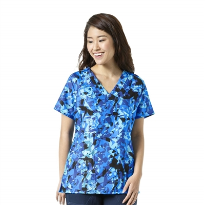WonderWink FFX Sport Print V-Neck Top in Prismatic Malibu