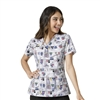 WonderWink Printed Sporty V-Neck Top in Scrub-A-Dub