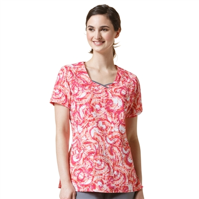 WonderWink Four-Stretch Curve-Centric Fashion Print Top in Cali Coral