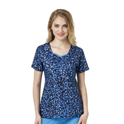 WonderWink Four-Stretch Curve-Centric Fashion Print Top in Feelin' Bubbly