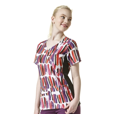 WonderWink Knit Panel Print Top in Cheers and Paint
