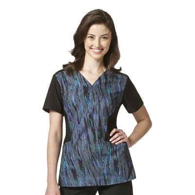 WonderWink FFX Sport Print Mock Wrap Top in Storm Runner