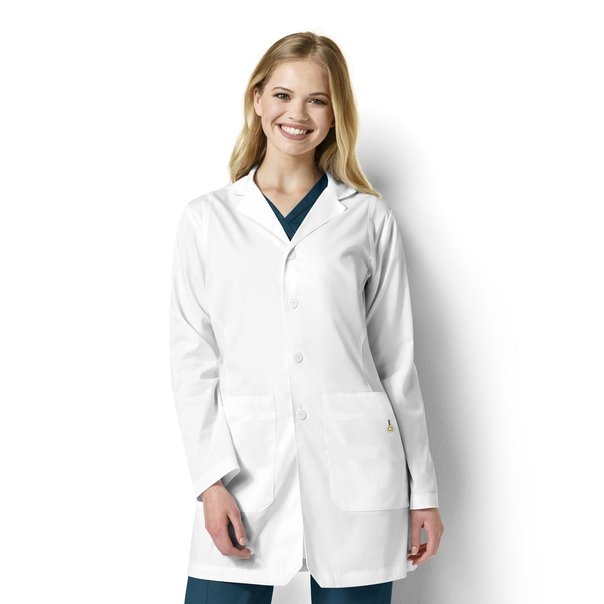Women's Bristol Stylized Collar White Lab Coat | WonderWink Next