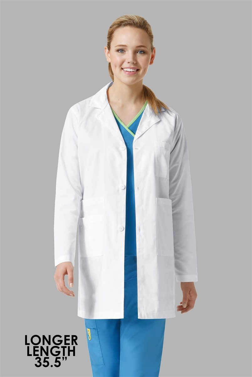 605a837b041 Long Unisex Student White Lab Coats To Wear Over Your Scrubs