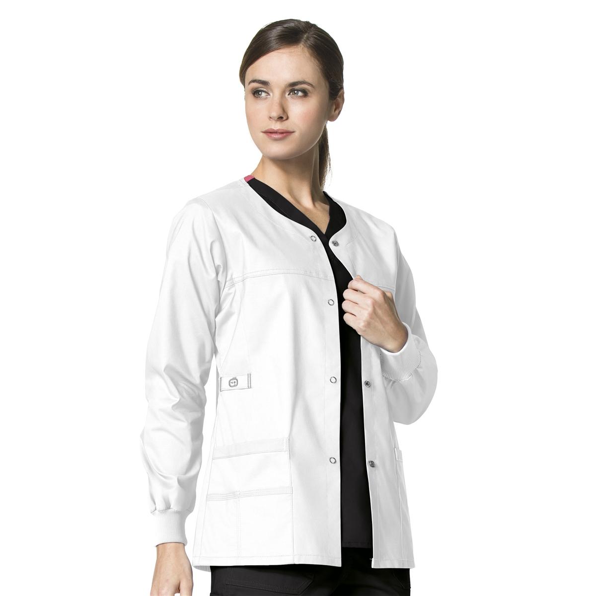 1282f6a705 WonderFLEX Constance Snap Jacket in True White - WonderWink Scrubs