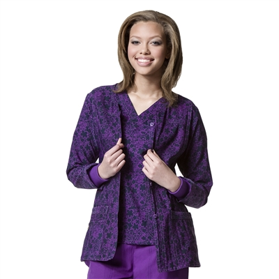 "WonderWink Printed Button Front Jacket in ""Vanity Violet"""