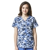 Carhartt Women's Cross-Flex V-Neck Print Top in Digi Camo Blue