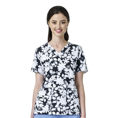 Carhartt Women's Cross-Flex V-Neck Print Top in Floral Nightfall