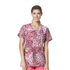 Carhartt Women's Y-Neck Fashion Print Top in Cobblestone Wine