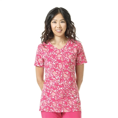 Carhartt Women's Y-Neck Fashion Print Top in Floral Field Azalea