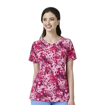 Carhartt Women's Y-Neck Fashion Print Top in Flower Press