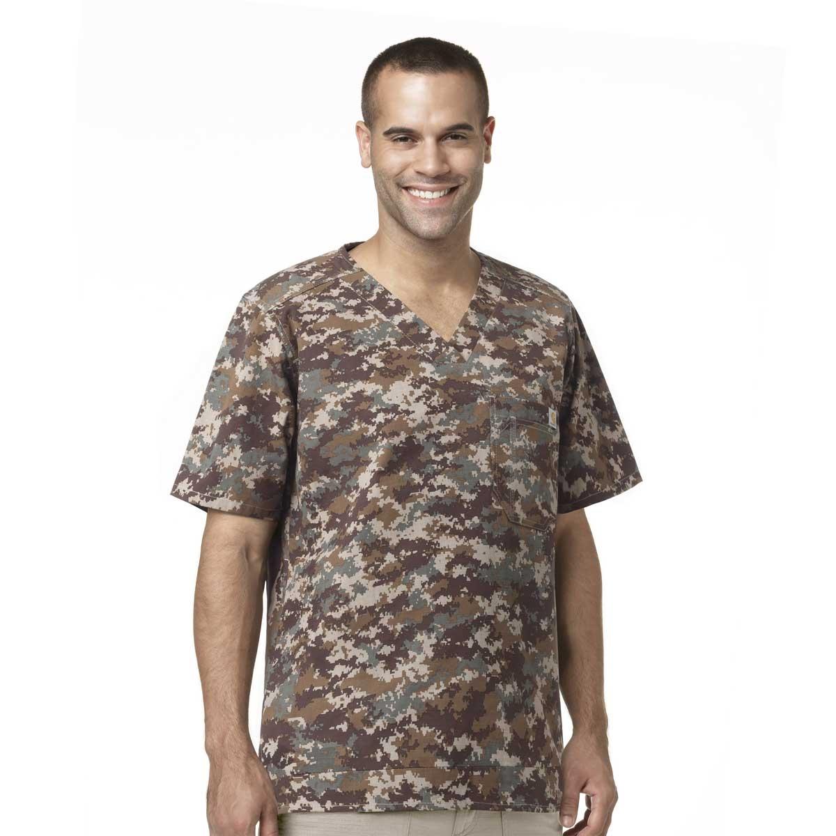 90f0514a2cfc9 Digi Camo Style! Men's Ripstop Scrub Tops In Khaki Print