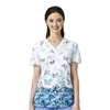 Carhartt Rockwall Women's Print V-Neck Side Pocket Print Top in Flutter Garden