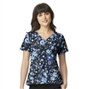 Moonlight Garden Black V-Neck Print Top