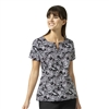Sketch Scroll Notch Neck Print Top